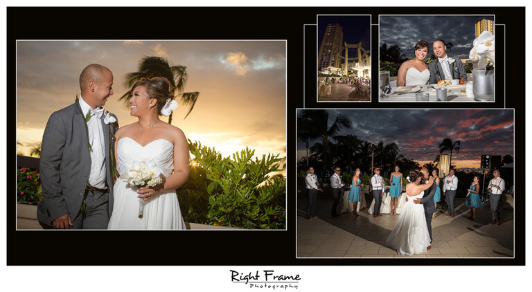 Sunset Wedding Reception at the Hyatt Regency Waikiki Beach Resort Photos Photographer Oahu