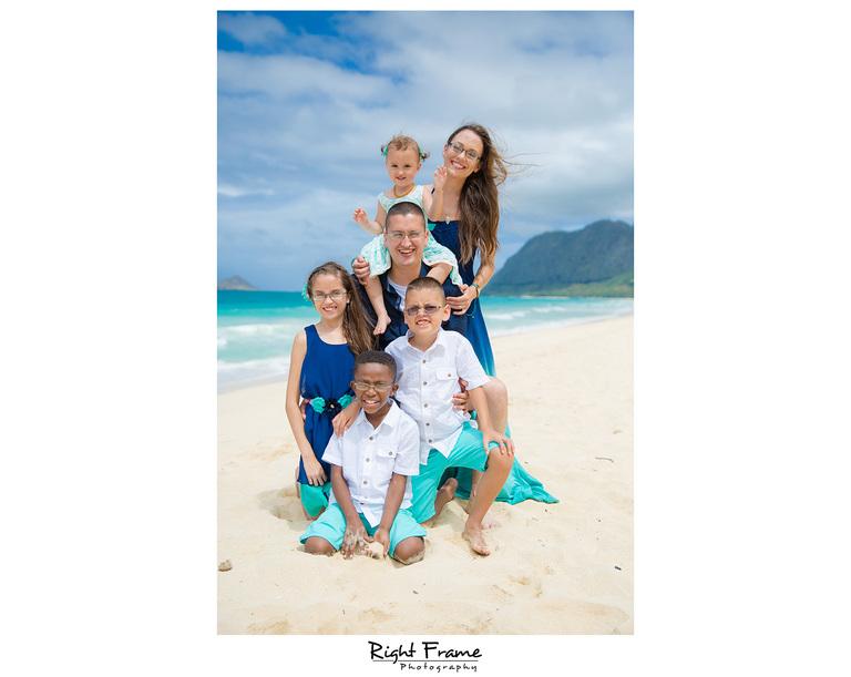Family Having Fun at Waimanalo Beach Hawaii