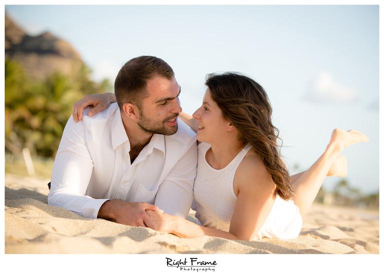 Romantic Sunset Beach Engagement Photography Oahu Hawaii