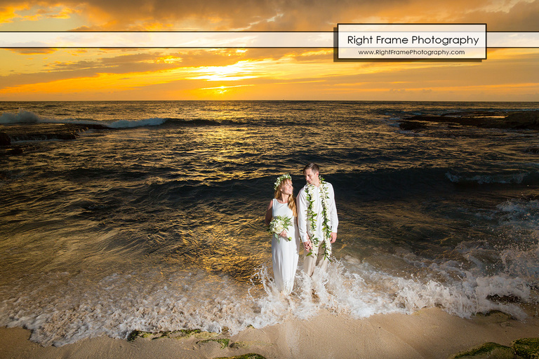 Sunset Wedding at Secret Beach Oahu Hawaii