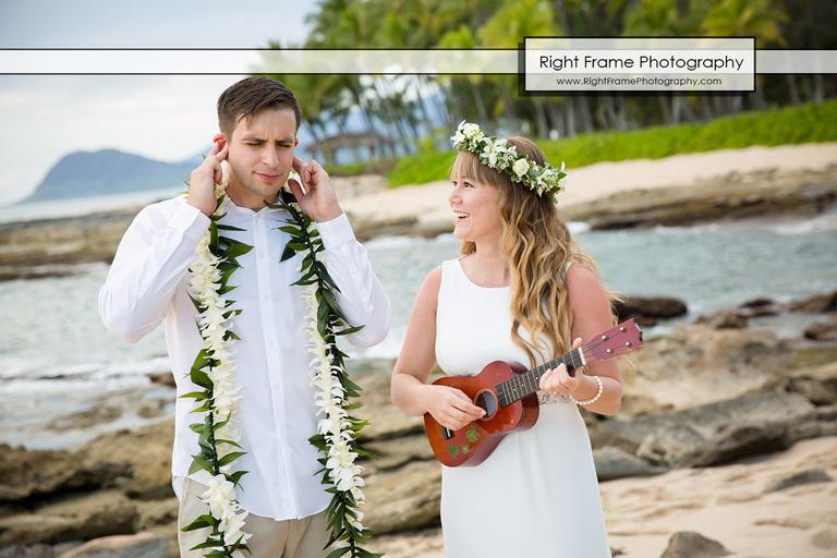 Sunset Wedding at Secret Beach Oahu Hawaii
