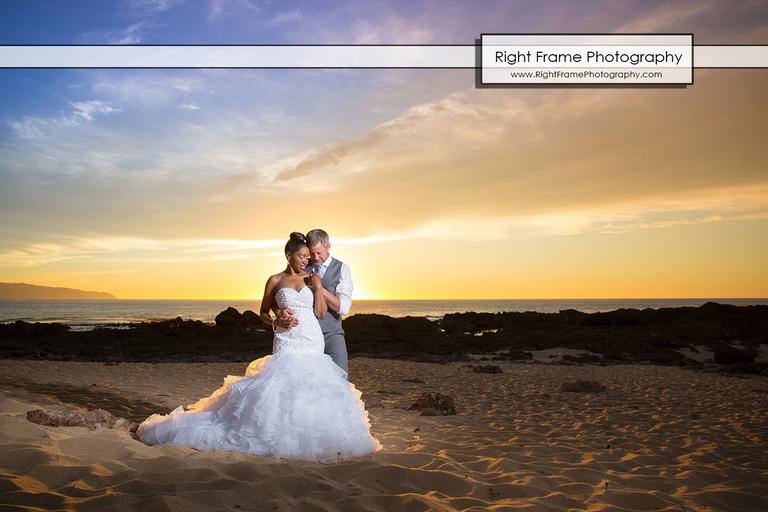 Sharks Cove North Shore Hawaii Sunset Wedding