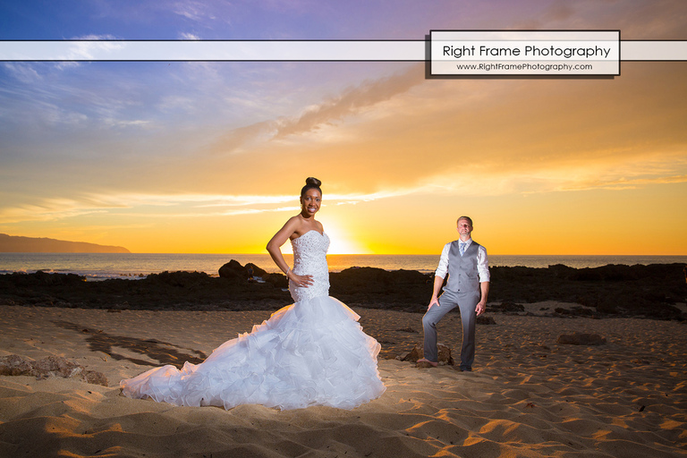 Sharks Cove North Shore Hawaii Sunset Wedding