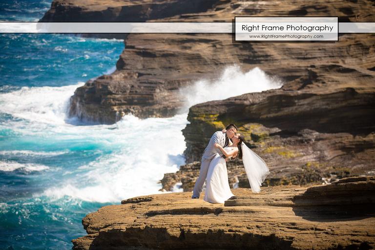 Hawaii Beach Wedding Photos Lanai Lookout Heaven's Point