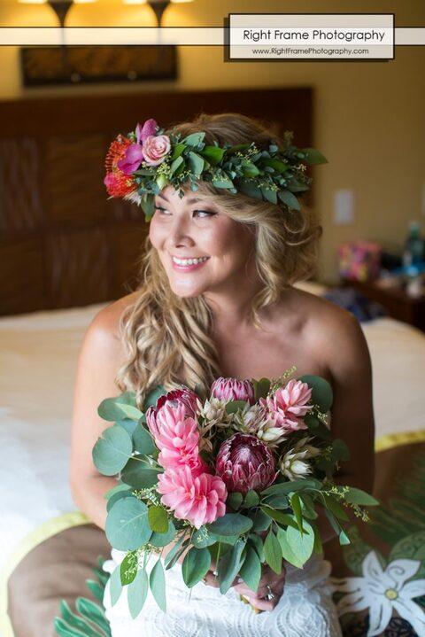 hale koa wedding getting ready haku flowers Waikiki Honolulu Hawaii