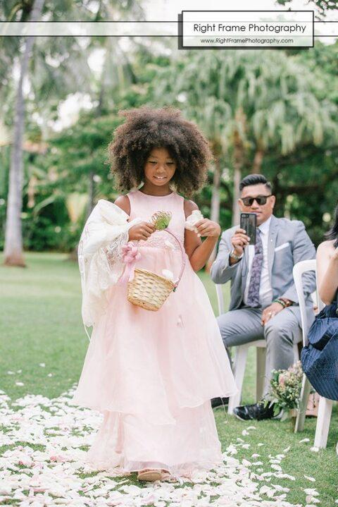 hale koa wedding ceremony flower girl
