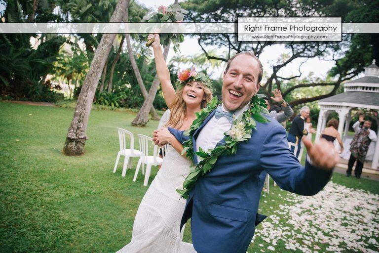 Happy Bride and Groom after wedding ceremony in Hale Koa Hotel