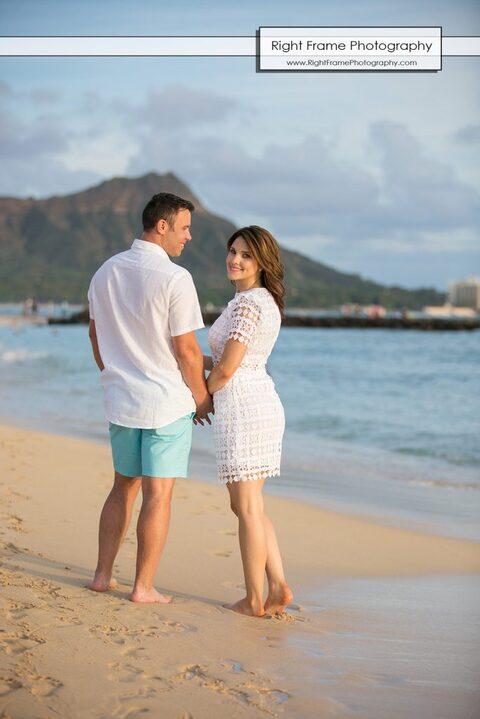 Sunset Surprise Proposal Waikiki Beach Oahu