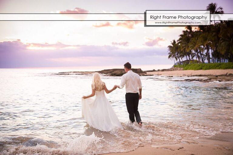 Small and Intimate Oahu Wedding at secret beach koolina Hawaii