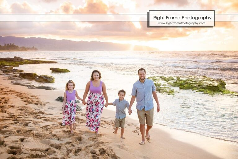 Sunset Oahu Family Photography at Papailoa Beach, Hawaii