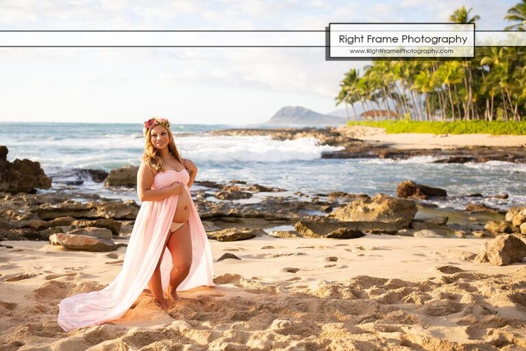 Sunset Maternity Photo Shoot in KoOlina Secret Beach Oahu Hawaii