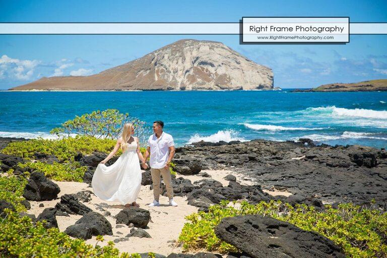 Engagement Photos Oahu Makapuu Beach Lookout Hawaii