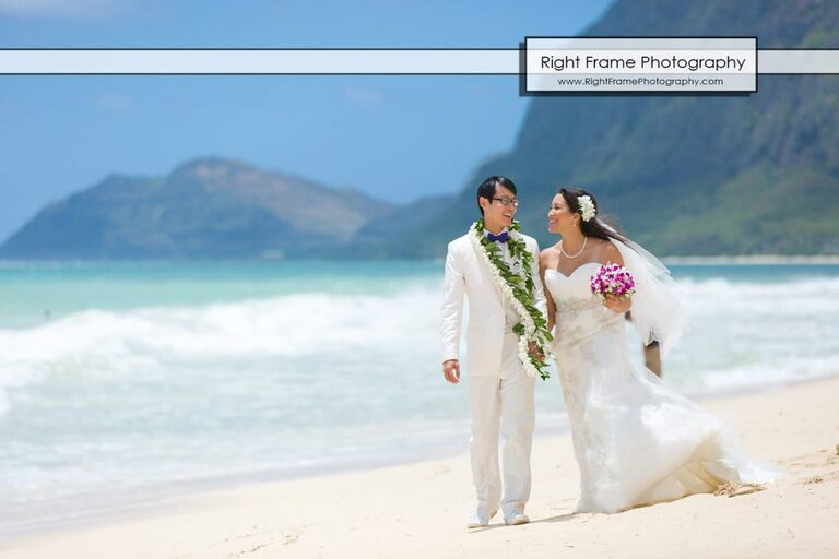 Oahu Waterfall Wedding Angels Bay Beach