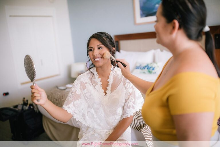 Turtle Bay Wedding Photos Oahu Hawaii Getting Ready Makeup artist