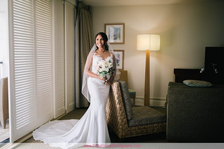 Turtle Bay Wedding Photos Oahu Hawaii Getting Ready Dress Bride