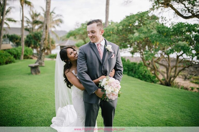 Turtle Bay Wedding Photos Oahu Hawaii Pavilion Couple Photo Session First Look