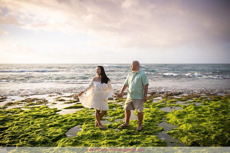 Hawaii Anniversary Photoshoot Photos Pictures Photography Papailoa Beach Sunset