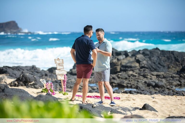 Proposal in Hawaii Same Sex Oahu Engagement Photographer