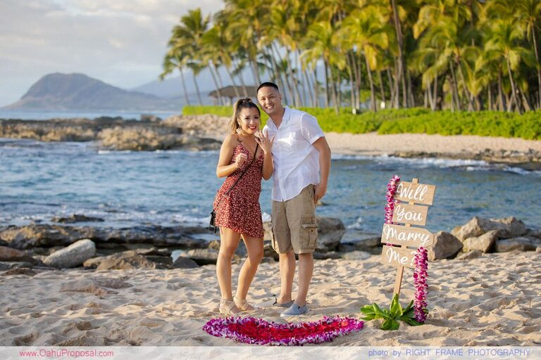 Oahu Surprise Proposal Hawaii Engagement Photographer