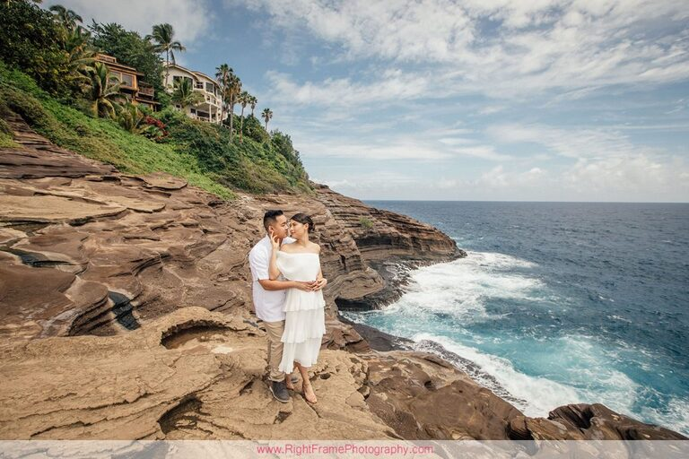 Engagement Photos at Portlock Oahu Spitting Caves Hawaii Cliffs Photographer