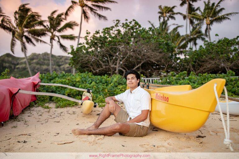 Senior Guy Portraits on Oahu Sunrise Lanikai Beach Hawaii Photographer