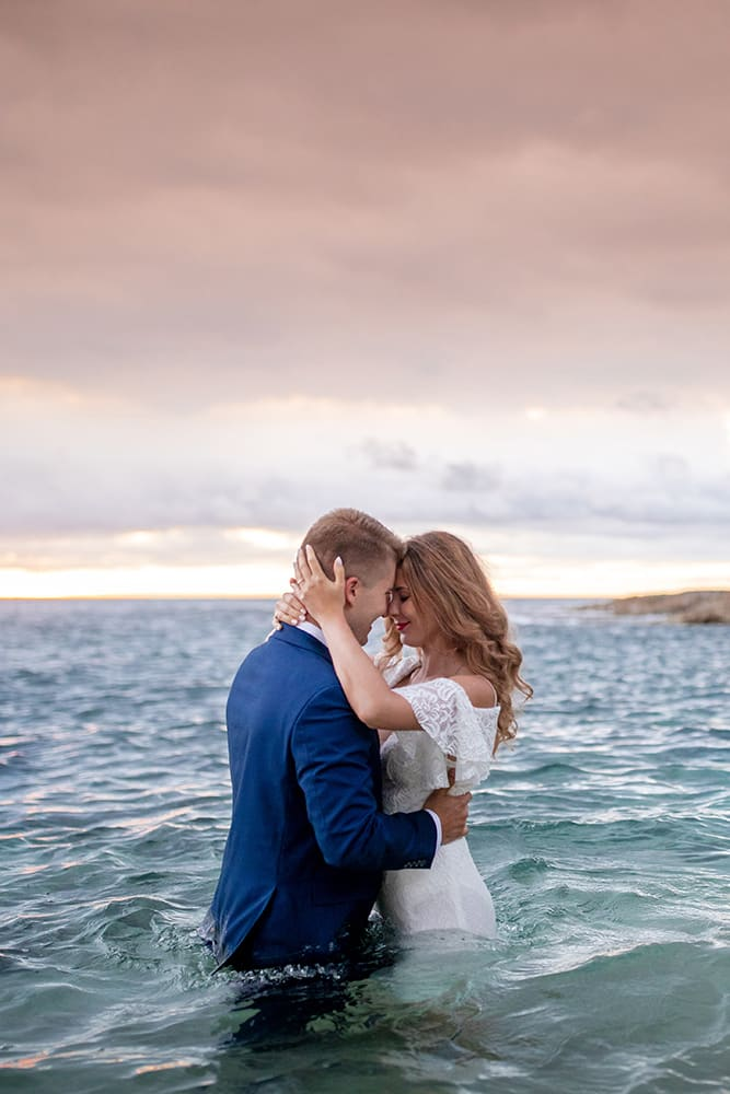 Oahu Destination Elopement Couple Water Photography Sunset Hawaii Secret Beach Aulani