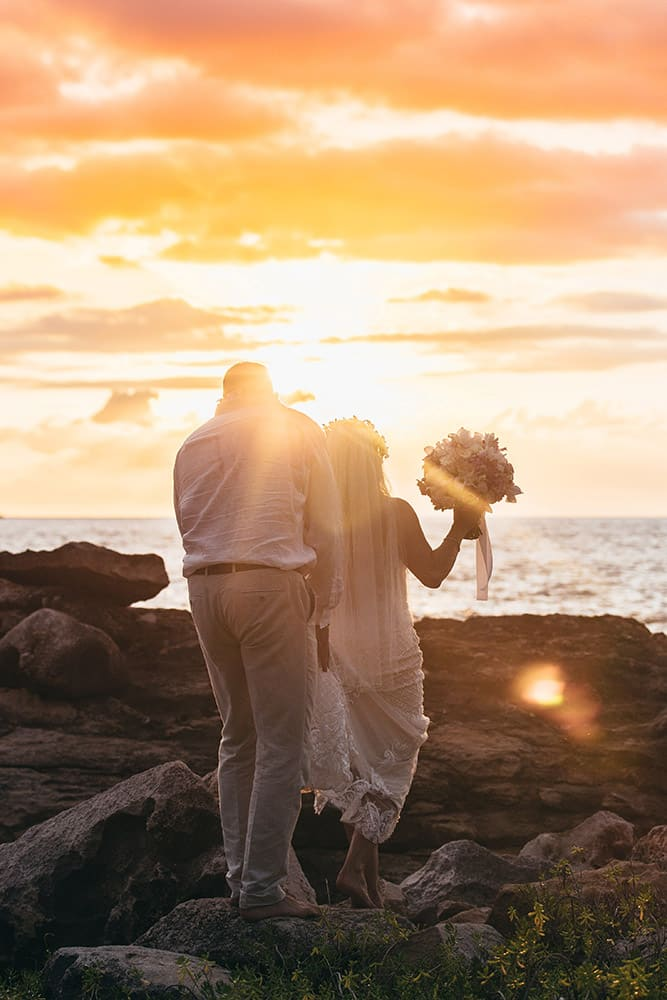 Romantic Sunset Oahu Destination Wedding Photographer Hawaii Ko Olina