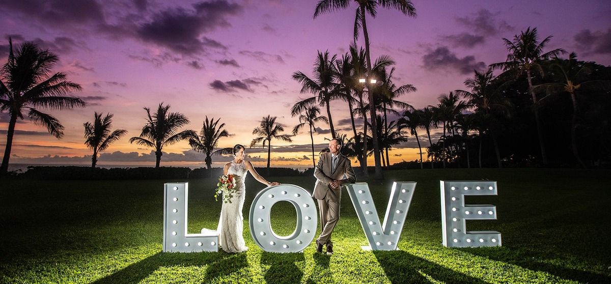Love Sign Sunset Hawaii Wedding Pictures Palm Trees KoOlina Resort