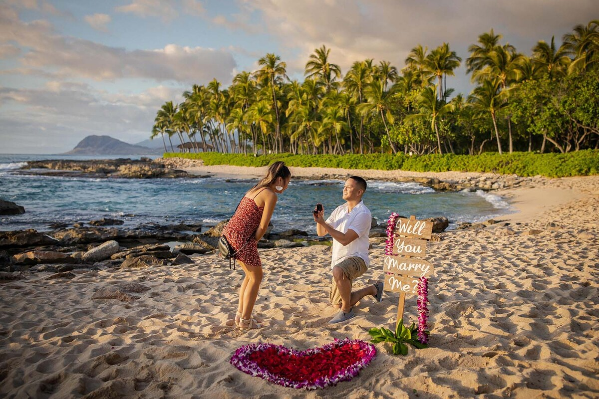 Secluded Surprise Beach Proposal at Koolina Flower Heart Decoration Will You Marry Me Sign