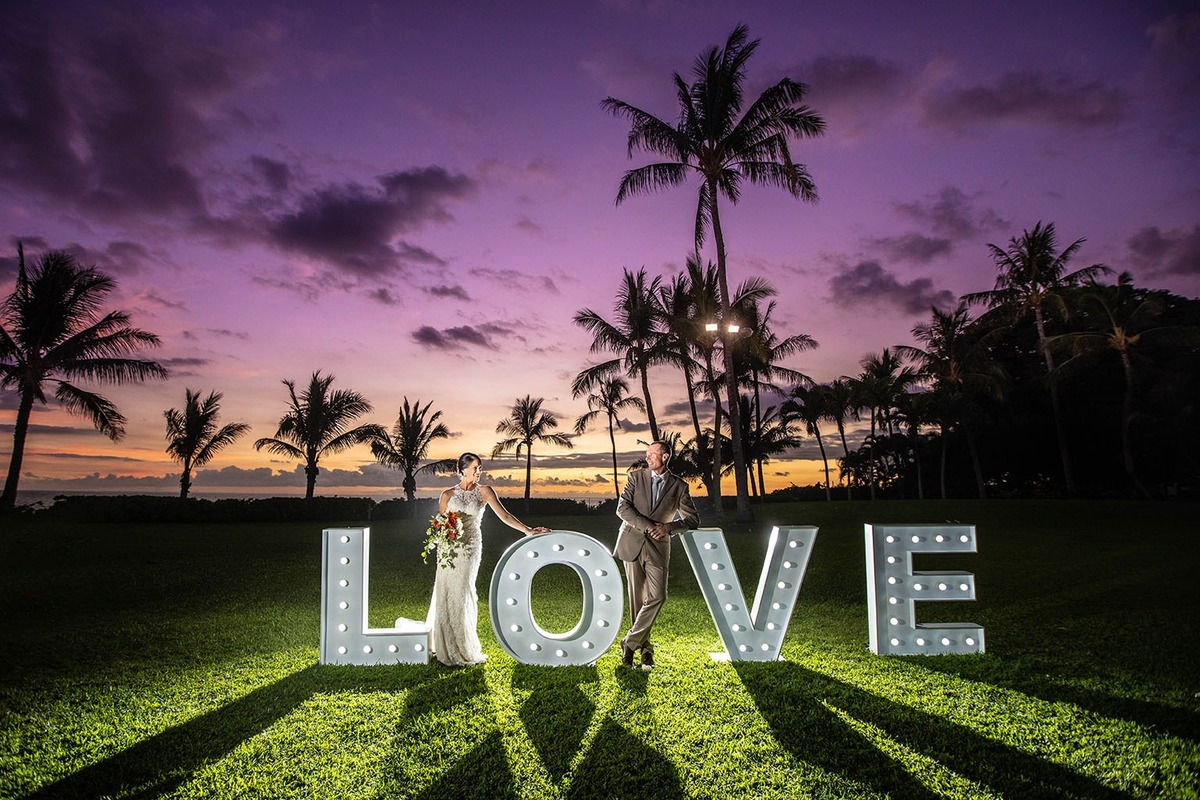 Night Love Big Letters Sign Honolulu Wedding Photographer Bride Groom Oahu Hawaii