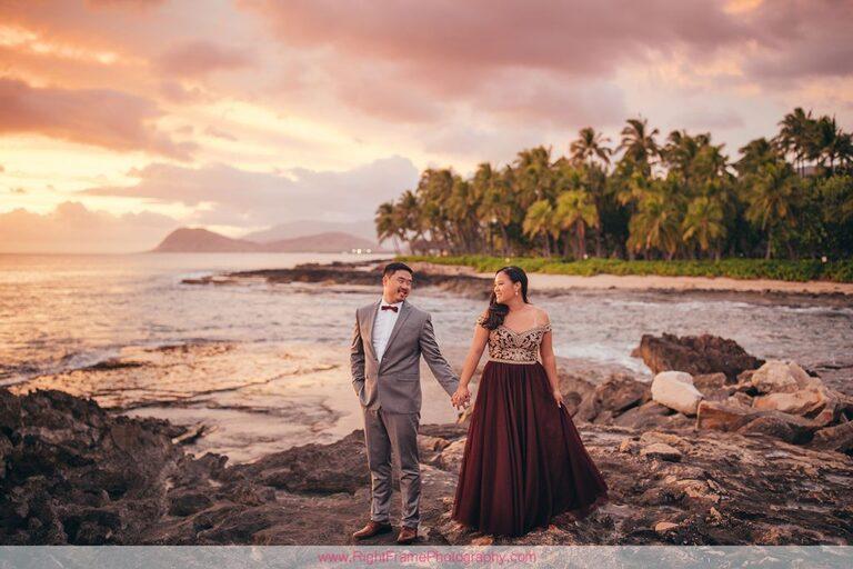 Sunset Engagement Photos Secret Beach Ko Olina Golden Hour Engagement Session Photographer