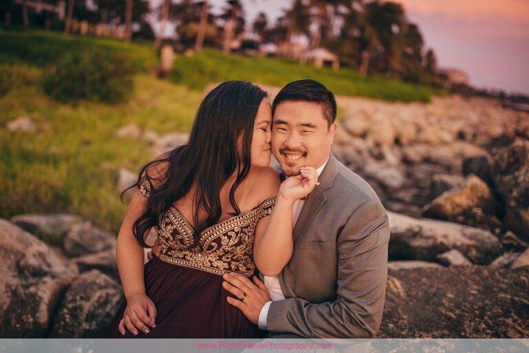 Sunset Engagement Photos Secret Beach Ko Olina Golden Hour Engagement Session Photographer Kiss