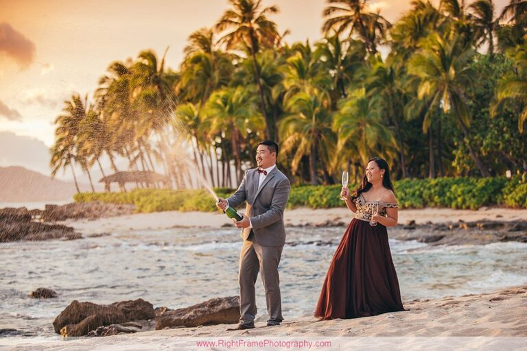 Sunset Engagement Photos Secret Beach Ko Olina Golden Hour Engagement Session Photographer Champagne Fun