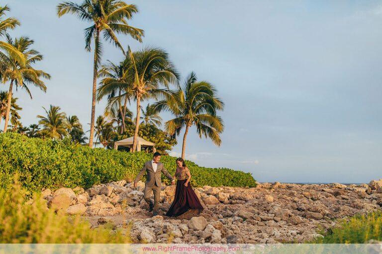 Sunset Engagement Photos Secret Beach Ko Olina Golden Hour Engagement Session Photographer Walking Rocks