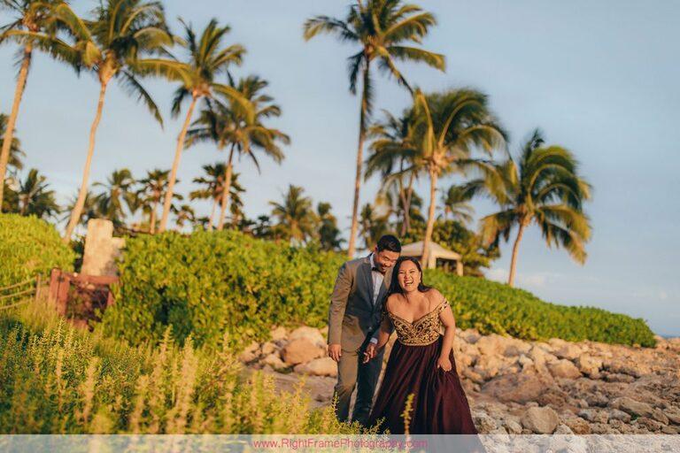 Sunset Engagement Photos Secret Beach Ko Olina Golden Hour Engagement Session Photographer Walking Rocks Palm Trees
