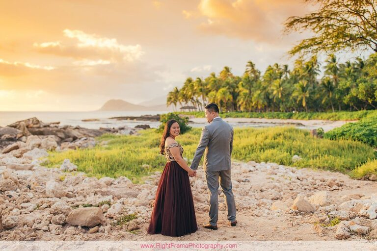 Sunset Engagement Photos Secret Beach Ko Olina Golden Hour Engagement Session Photographer Holding Hands Love