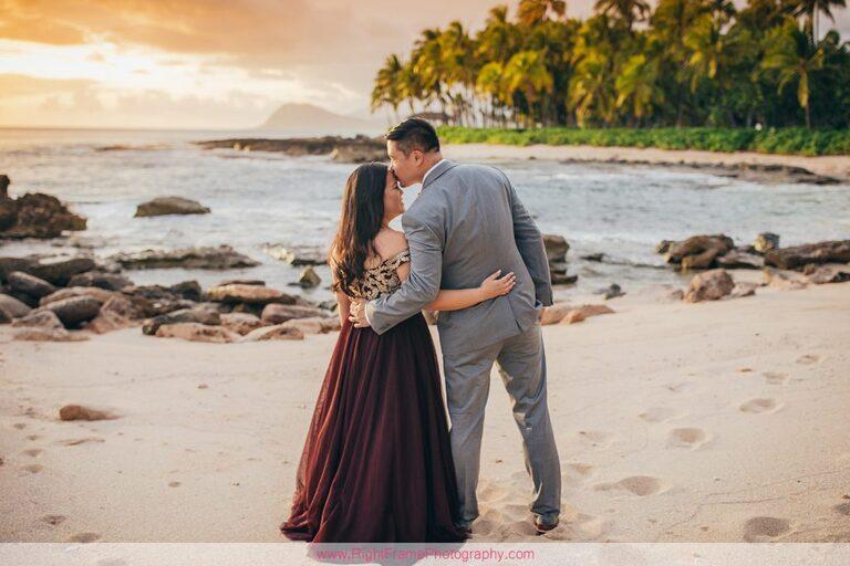 Sunset Engagement Photos Secret Beach Ko Olina Golden Hour Engagement Session Photography
