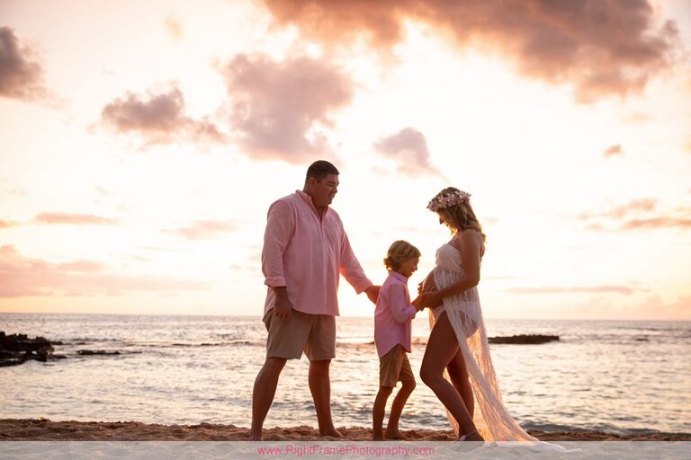 Koolina Maternity Photographer Sunset Family Pictures Paradise Cove Beach Family