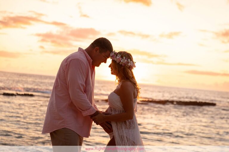 Koolina Maternity Photographer Sunset Pictures Paradise Cove Beach Oahu Hawaii